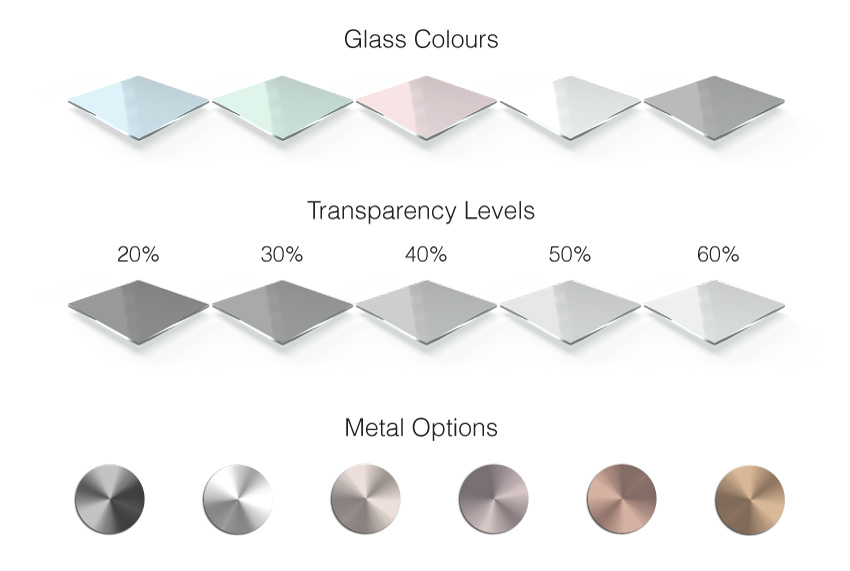 Glass Colours and Metal options